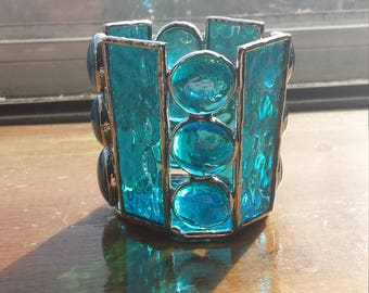 Stained glass tealight holder, stained glass tea light holder, stained glass candle holder