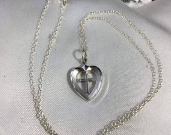 Vintage Sterling Silver Heart Cross Necklace