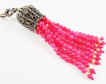Large Long Cerise Pink Jade Stone Beaded Tassel with Crystal Accents - Antique Bronze - 1PC