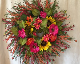 Summer Wreath for Front Door - Front Door Wreath - Spring Front Door Wreath  - Spring Wreath For Front Door - Summer Wreaths - Summer Wreath
