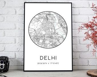 Delhi City Map Print   Delhi poster, Delhi map art, Delhi wall art print, Delhi gift, Delhi map print