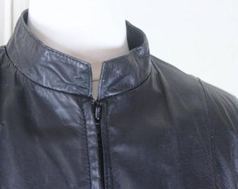 1980s cropped black leather jacket - Wilsons - mod biker, motorcycle, outsider, glam rock, rocker - vintage size 14, medium to large