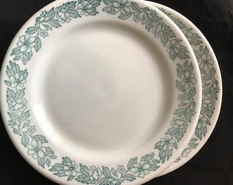 Vintage Restaurant ware, green floral, Shenango China, dinner plates,Lawrence Thriftware, Wel Roc
