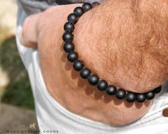 Classic Bracelet Black Onyx Bracelet Mens Bracelet Beaded Bracelet Stretch Bracelet Bracelet For Men Black Bracelet Black Bead Bracelet Mens