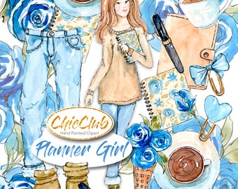 Watercolor Fashion Clipart | Planner Girl | DIY Invitations | Blue Planner Stickers | Fashion Girl | Watercolor Clipart Watercolor Fashion