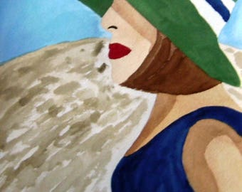 The Green Hat - Vintage Illustration, Beach Art, Watercolor Painting, Green and Blue