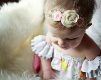 Pink and Gold flower headband. Pink and cream flower headband, light pink flower headband, baby pink flower headband, gold flower headband