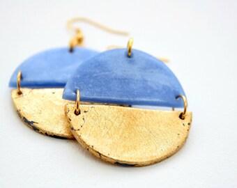 Round dangle earrings, Blue earrings, Gold earrings, Geometric earrings, Boho earrings, Statement earrings, girlfriend gift, Clay earrings