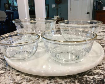 Barlett-Collins Set of Four Nesting Bowls//Pattern: No. 806//Exterior Frosted Grapes With Leaves Bowls//Serving Bowls//Vintage Bowls