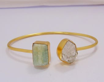 Handmade Bangle - Herkimer Diamond Bangle - Raw Stone Bangle - Electroformed Bangle - Aquamarine Bangle - Two Stone Bangle-Adjustable Bangle