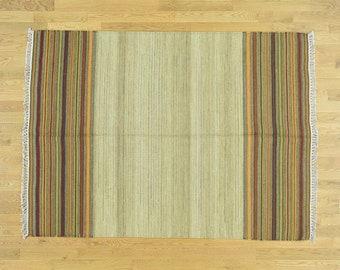"5'x6'9"" Pure Wool Hand-Woven Southwestern Design Kilim Flat Weave Rug"