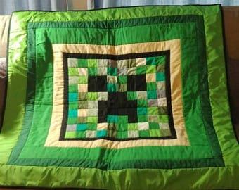 Handmade Minecraft Creeper Small quilt