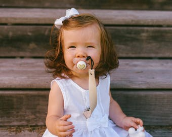 Champagne Cream Benefitter Baby Pacifier Clip