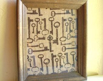 Rustic Farmhouse Style Burlap Fabric Wood Framed Picture Black Skeleton Keys 8x10