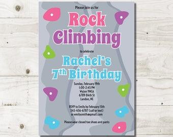 Girl Rock Climbing birthday invitation rock climbing party birthday party birthday invites printed or printable invitations girl birthday