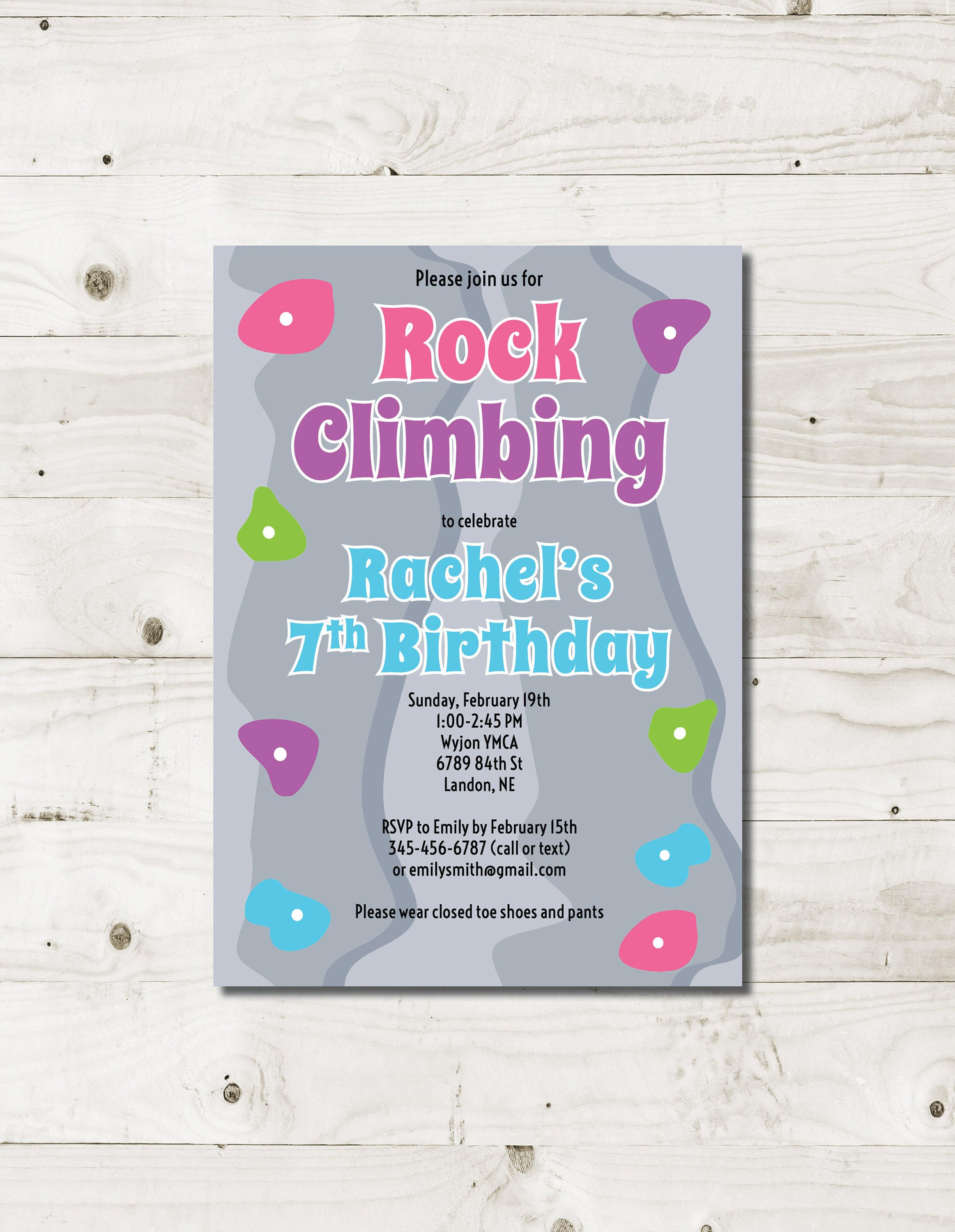 Girl Rock Climbing birthday invitation rock climbing party