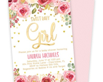 Pink and Gold Baby Shower Invitation, Floral Baby Shower Invitation, Baby Shower Invitation Girl, Baby Girl Shower, Baby Shower, Invite 654