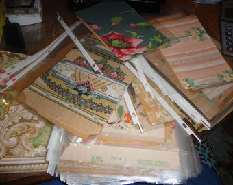 SALE ! Lot of 160 Antique 1910s - 1920s  Wallpaper samples  - estate - antique  - crafts - scrapbooking - floral - kitchen - vintage