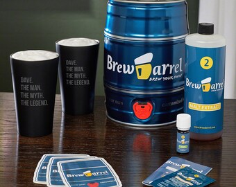 Beer Brewing Kit & Custom Glasses - The Man The Myth The Legend Custom Stainless Steel Pint Glasses - Brew Beer in a Week w/ This Great Gift