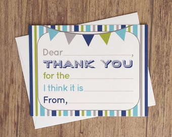 Fill In The Blank Thank You Cards 10 Pack - Boy Birthday Thank You Notes - Kids Thank You Note Card - Fill In Thank You Card Blue Grey Green