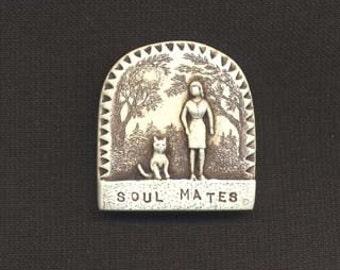 Cat soul mate woman trees best friend art Moosup pin
