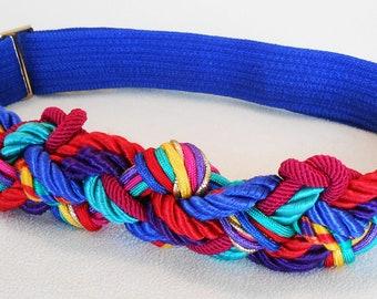 Vintage, Belt, 1980s, Braided, Retro, Size Small/Med/Large, Adjustable, Retro, Colorful braided belt, adjustable small, adjustable medium,