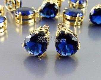Blue stone pendant etsy 2 deep blue royal blue color glass crystal charms teardrop royal blue stone pendants aloadofball Image collections