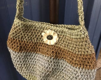 Hand Crocheted Green, Brown and Blue Shoulder Bag