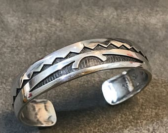 """6.25"""", Vintage Hopi Native American old pawn oxidized sterling silver bracelet, solid 925 silver cuff, signed"""