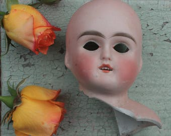 Antique German Porcelain Bisque Doll Head Broken