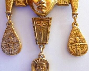 Goldette style Egyptian Revival necklace | hieroglyphics Tuts tomb vintage | Cleopatra mask | matte gold tone jewelry | 1960s vintage
