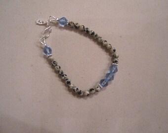 Children's Blue Bracelet Dalmatian Gemstone Jewelry Sterling Silver Jewellery Dangle Charm Beads Fashion Unique