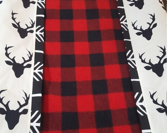 Deluxe Lodge Baby Contour Changing Pad Cover- Red Black Buffalo Check center with Black Buck and Black Arrow Trim