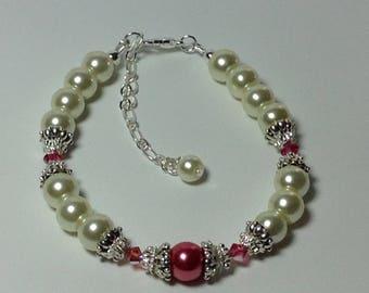 Ivory and Fuchsia Pearl  Bridesmaid Bracelet