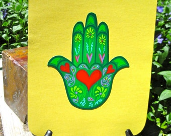 Hamsa Hand Magnet, Heart,  protection, healing, Love, abundance,  Made To Order Only