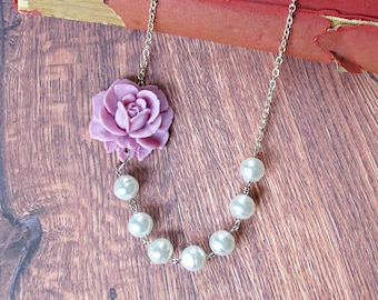 Pearl Necklace Lilac Purple White - For Women Floral Rose Flower Botanical - Vintage Silver Bridal Bridesmaid Wedding Jewellery Jewelry