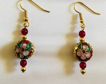 Romantic Red Cloissone Earrings