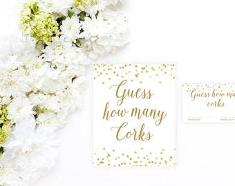 Guess How Many Corks Game, Bridal Shower Game Printable, Bridal Shower Games Printable, Gold Bridal Shower Decor, Bridal Sign BRS1 BAS1