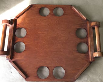 1970s Vintage Hand Made Wood Serving Tray