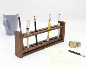 Customizable Fountain Pen Holder, Fountain Pen Display,  Pencil Holder, Wooden Desk Organizer, Wood Office Organizer