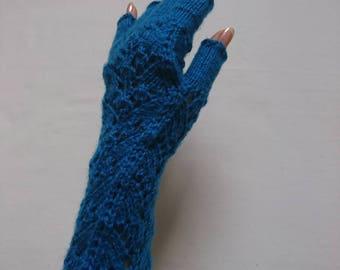 Hand knitted ocean blue fingerless gloves