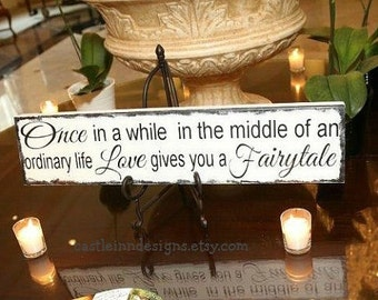 Disney Themed Bridal Shower | Disney Wedding Sign | Once in a while | Love Gives you a Fairytale | | Fairy tale Wedding