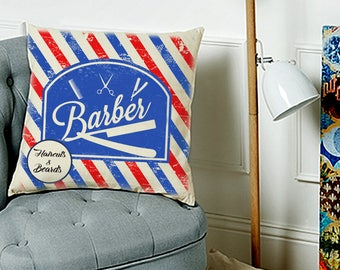 Valentine's gift Perfect Christmas giftBarber shop pillow beards and haircuts tattoo old school gentleman barberia