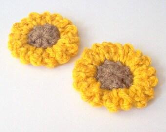 Sunflower Crochet Pattern, Instant Download, PDF Crochet Pattern, Easy Crochet Pattern, Applique Pattern, Embellishment Pattern