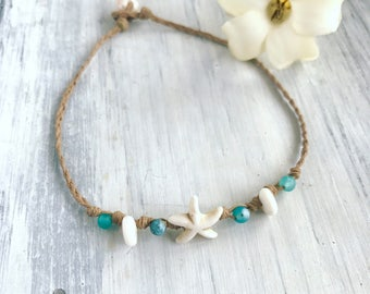 Beachy white starfish anklet with blue frosted agate - handmade in hawaii