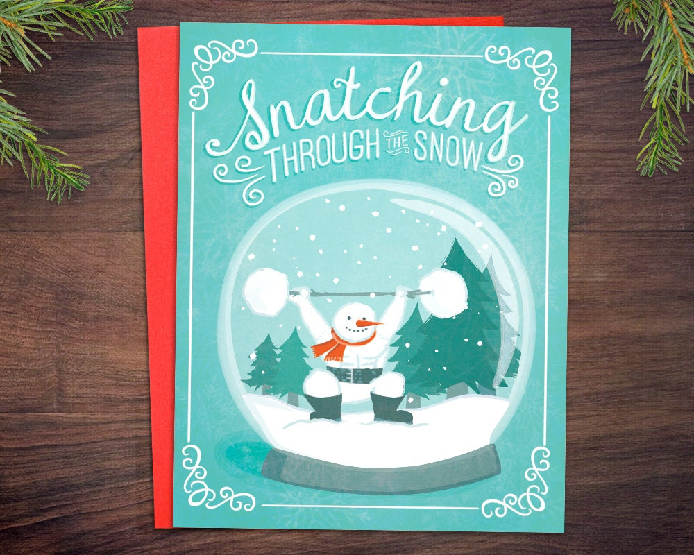 Weightlifting Christmas Card Bundle Snatching Through The