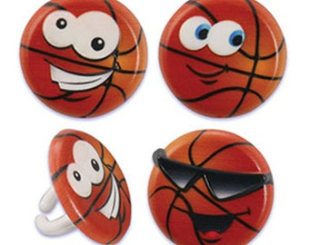 24 Basketball Character Cupcake Rings Cake Decor Toppers