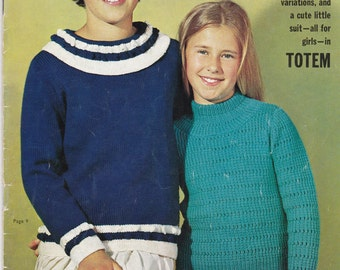 Childrens Totem Playtime Knits - Vintage 1960s - Knitting Pattern No 741, Cardigans,Jumpers,Sweaters