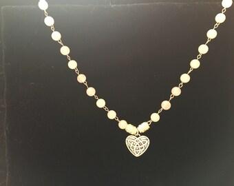 Rose Quartz Celtic Heart Necklace