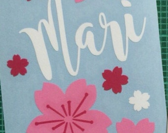 Cherry blossoms (sakura) with name decals to personalize your HydroFlask or swell bottle